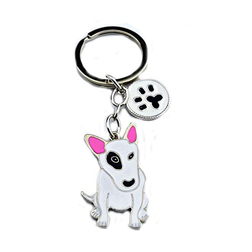 (BBEART Dog Keychain ring, Cool Cute Pet Dog Keyring Bag Charm Mini Metal Key Ring Keyfob (Bull Terrier))