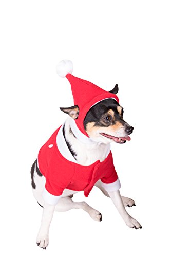 Clever Creations Red and White Santa's Outfit and Hat Christmas Dog Outfit | Festive Holiday Pet Costume | Perfect for Many Breeds | Measures 17