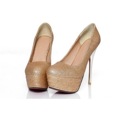 VogueZone009 Womans Closed Round Toe High Heel Spikes Stilettos PU Soft Material Solid Pumps Gold 4JVJY7LR