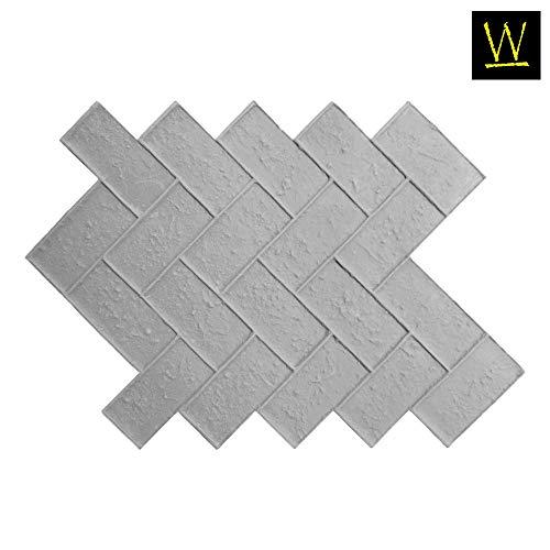 Olde Town Herringbone Brick   Single Decorative Concrete Stamp by Walttools (Floppy/Flex)
