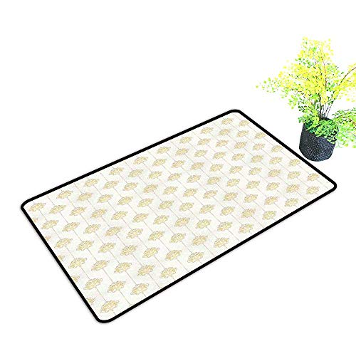 Diycon Entrance Door mat Vintage Ornamental Tracery Inspired Lines Swirl Curl Elements Vertical Borders with Dots W16 xL20 Indoor Outdoor, Waterproof, Easy Clean Cream Gold