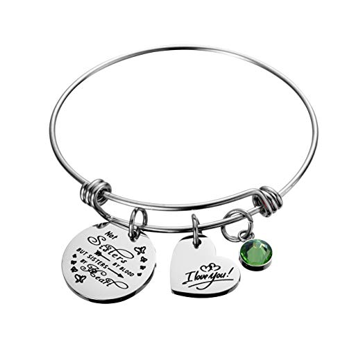 Raysunfook Not Sisters by Blood But Sisters by Heart Birthstone Charm Bracelet Friendship Gift I Love You Sister Cuff Friend Jewelry