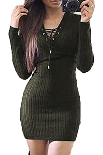 Prograce Ladies Lace Up Criss Cross Ribbed Knitwear Cocktail Dresses Green L