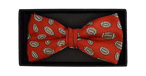 Men's game Day Football Sports Repeat Pre-tied Banded Bow Tie Neckwear ()