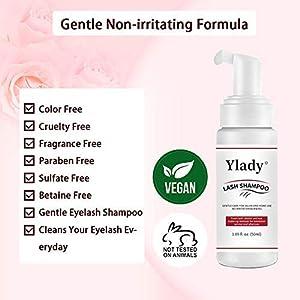 Natural EyelashCleanser And Brush Ylady Eyelash Shampoo Foaming Eyelid Cleanser For Natural Lashes Extension Makeup & Mascara Remover Professional Salon Or Self Use 1.7 fl.oz / 50 ml