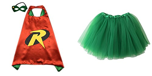 Tutu Robin Girls Costumes (Superhero or Princess TUTU, CAPE, MASK SET COSTUME - Kids Childrens Halloween (Robin - Red & Green))