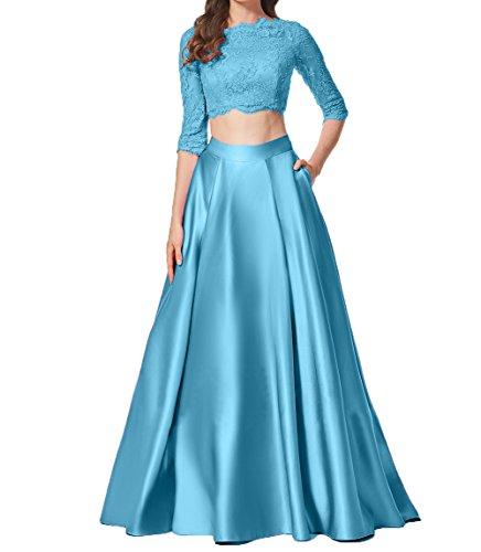 Spitze Partykleider Bodenlang Abendkleid Damen Elegant Zwei Cocktailkleider Blau Promkleider Teilig Charmant Langarm qX7wB6