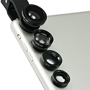 First2savvv JTSJ-4N1-A01 - Pack de lentes para LG Optimus L5 (ojo de pez, gran angular, macro y barlow, incluye paño de limpieza), negro