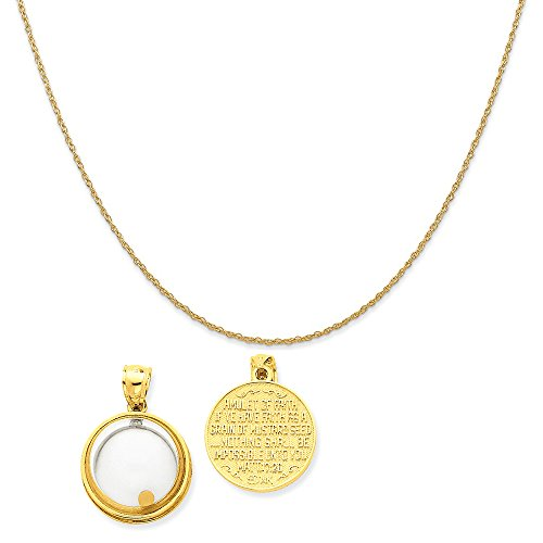 - Mireval 14k Yellow Gold Mustard Seed Domed If Ye Have Faith Pendant on 14K Yellow Gold Rope Necklace, 18