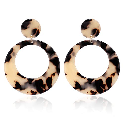 - YAHPERN Acrylic Earrings for Women Girls Statement Geometric Earrings Resin Acetate Drop Dangle Earrings Mottled Hoop Earrings Fashion Jewelry (D-Light Leopard)