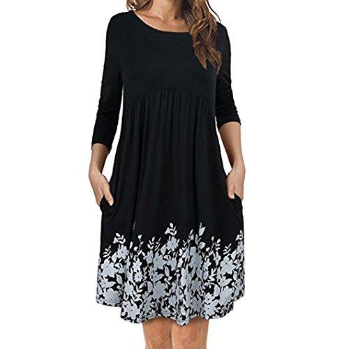 Gocheaper Women's T Shirt Dress with Pockets Long Sleeve Floral Pleated Swing Dress (XL, Black) -
