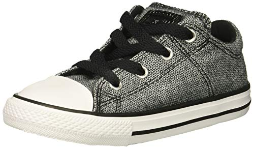 Converse Girls' Chuck Taylor All Star Madison Low Top Sneaker, Black/White, 8 M US Toddler