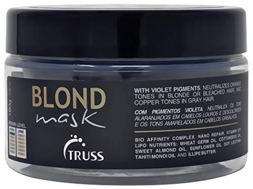 Truss Blond Mask - Hair Mask Treatment for Blonde, Bleached and Gray Hair - Violet Pigments Neutralizes Unwanted Orange Tones and Brassiness - Hydrating Mask for Dry Damaged Hair (Hair Net Mask)