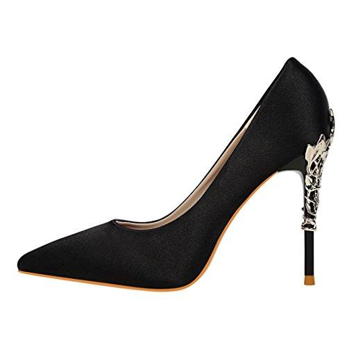 Soirée Bout Noir Escarpins Métallique Pointu OALEEN Elégant Chaussures Talon Haut Femme Satin qOvvatwC