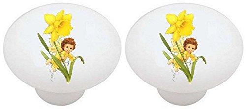 SET OF 2 KNOBS - Blossom Tot Angel Daffodil Angels - DECORATIVE Glossy CERAMIC Drawer PULLS Dresser Drawer KNOBS