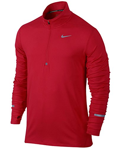 Nike Mens Element Half-Zip Running Top, Red/Reflective Silver, Large, 717404 657