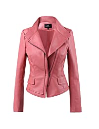 LLF Women's Faux Leather Moto Biker Short Jacket With Stitching