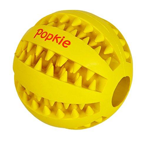 Popkie Hundespielzeug Ball mit Dental-Zahnpflege-Funktion aus Naturkautschuk | mit Noppen und Loch für Leckerli, ø 7cm | GELB