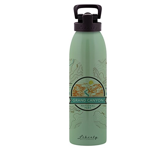 Liberty Bottleworks Grand Canyon Topo Aluminum Water Bottle, 24oz, Edamame, Sport Cap