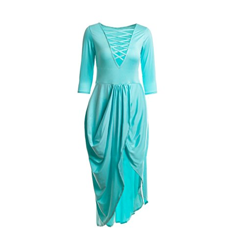Cross 3 Sleeve Bandage Ruched Women Neck 2 Maxi Stretchy Blue Bodycon Light Long Sexy Dress V BEqnxSaIx