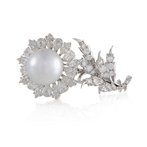- Buccellati Womens 18K White Gold Diamond and Pearl Flower Brooch SSEF Certified