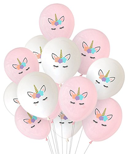 Kreatwow 30 Pack Unicorn Balloons Decorations Pink and White Party Balloons for Birthday Party Baby Shower Decorations