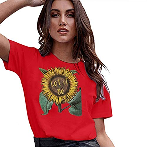 - 〓COOlCCI〓Sunflower Printed T Shirts Womens Casual Short Sleeve Tees Summer Loose Blouse Tops Red