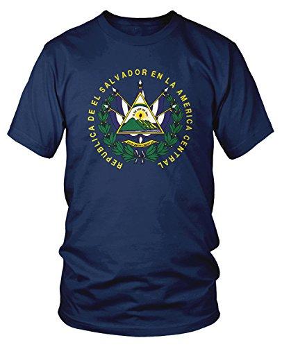 Amdesco Men's El Salvador Coat of Arms T-shirt, Navy Blue Large