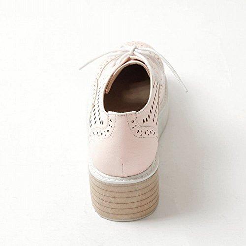 Schouder Dames Lace Up Doorboord Zomer Mode Datum Casual Sleehak Platform Oxfords Schoenen Roze