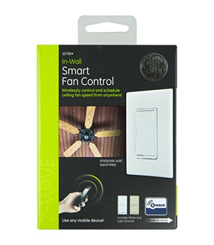 GE Z-Wave Wireless Smart Fan Speed Control, 3-Speed, In-Wall, Includes White & Light Almond Paddles, Hub Required, 12730, Works with Alexa by GE (Image #1)
