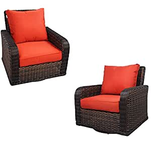 Kinger Home 2 Piece Rattan Wicker Swivel Rocker Outdoor Patio Furniture Chair Set with Thick Removable Cushion