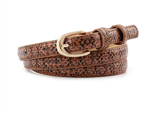 Women Snakeskin Print PU Leather Dress Jeans Narrow Waist Belt Ladies Gold Color Pin Buckle