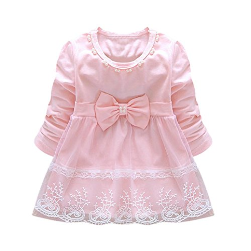 PENATE Baby Girl Elegant Princess Dress, Toddler Infant Kid Bowknot Lace Pearls Decor Solid Color Long Sleeve O-Neck Tutu Dress Clothes Skirt (Pink, L)