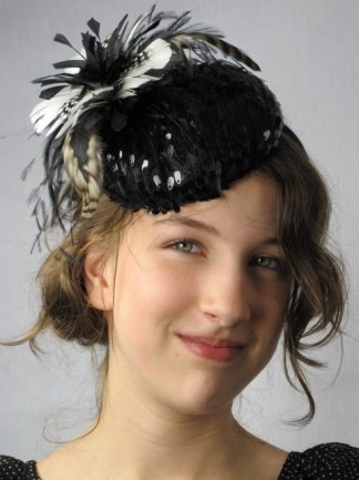 Pretty Cool - Black Sequin Pill Box Hat Fascinator with Ivory   Black  Feather Flower Detail  Amazon.co.uk  Clothing 5e94a818e7a