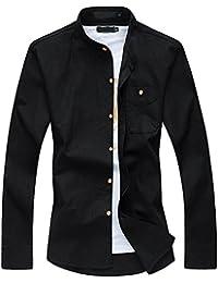 Men's Mandarin Collar Long Sleeve Slim Linen Cotton Shirt