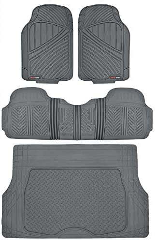 Motor Trend FlexTough Performance All Weather Rubber Car Floor Mats with Cargo Liner – Full Set Front & Rear Odorless Floor Mats for Cars Truck SUV, BPA-Free Automotive Floor Mats (Gray)