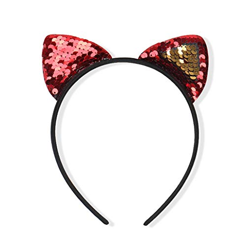 - Fashion Girls Shine Sequins Cat Ears Cute Hairbands Children Party Hair Ornament Photo Props Cartoon Headbands Kids Hair Red