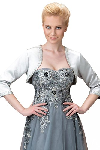 Sisjuly Women's 3/4 Sleeves Beading Matte Satin Wedding Bolero Jacket 12 Ivory