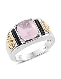 Rose Quartz, Black Spinel 14K Yellow Gold and Platinum Plated Silver Men's Ring 5.4 cttw