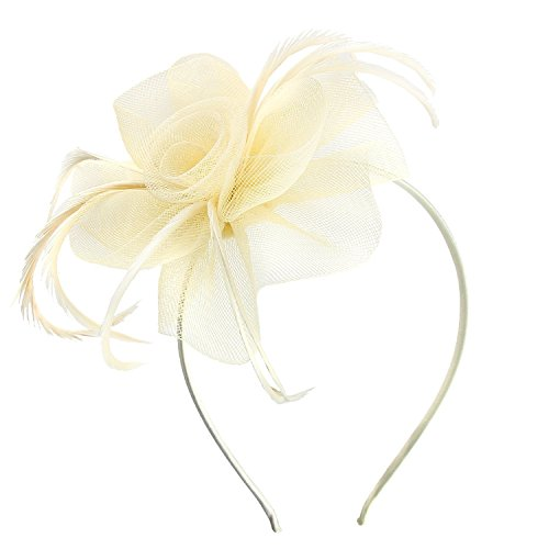 Acecharming Fascinators for Women, Feather Sinamay Fascinators with Headbands Tea Party Pillbox Hat Flower Derby Hats(Ivory) by Acecharming