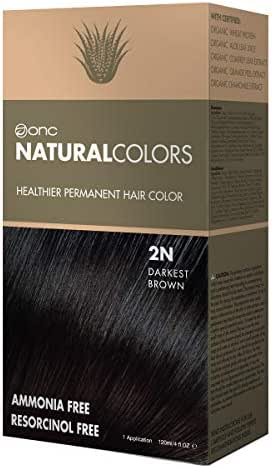 ONC NATURALCOLORS Healthier Permanent Hair Color, Certified Organic Salon Quality Hair Dye, Ammonia-free, Resorcinol-free, Paraben-free, Low pH, Best Hair Coloring (2N Darkest Brown)
