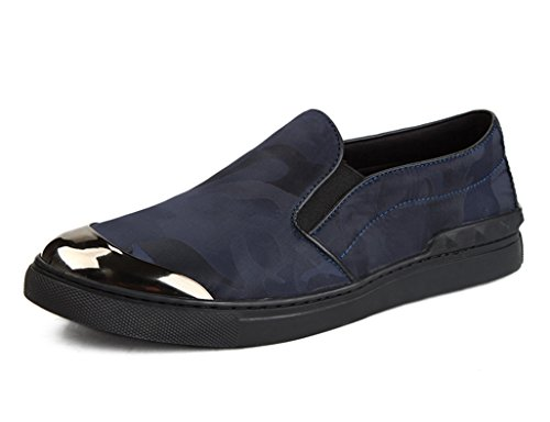 Zapatos Clásicos de Piel para Hombre Zapatos de lona de camuflaje casuales de los hombres respirables ( Color : Vino rojo , Tamaño : EU 41/UK7 ) Azul