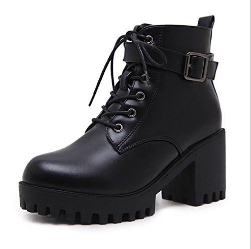 Autumn and Winter Female Boots Thick Heel Short Boots Fashion Thick Bottom Lace Hasp Martin Boots Round Head Black WNB4a6GH