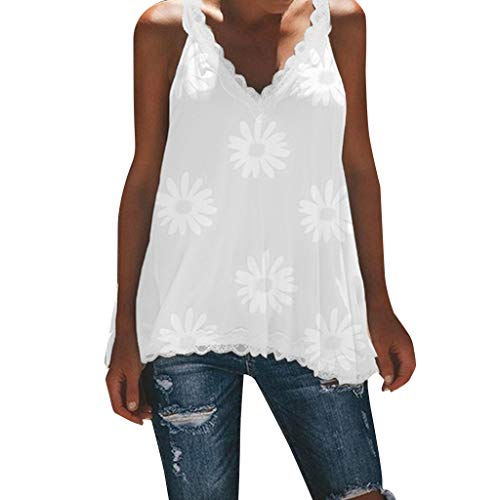 Strappy Tank Tops, Women's Flower Print Blouse Lace Sleeveless Vest Summer Backless Camisole for Ladies Girls White