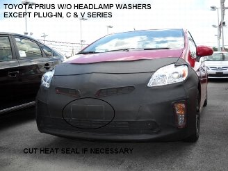 Lebra 2 piece Front End Cover Black - Car Mask Bra - Fits - TOYOTA PRIUS & Plug In 2012-2015 (Without Headlamp Washers), Except C & V SERIES.