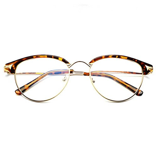 G&T Unisex Retro Fashion Metal Frame Anti-blue Clear Lens College Style Plain Glasses(C3) (Where Can I Buy Cat Eye Contacts)