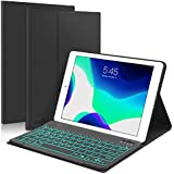 "New iPad 10.2 8th 7th Generation 2019 Keyboard Case, Boriyuan 7 Colors Backlit Detachable Keyboard Slim Leather Folio Smart Cover for iPad 10.2 Inch/iPad Air 10.5""(3rd Gen)/iPad Pro 10.5 inch – Black"