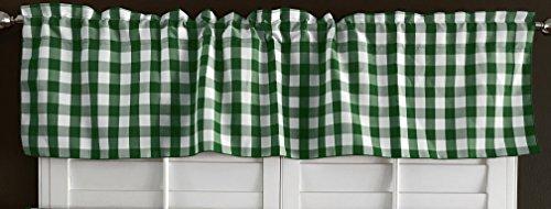 lovemyfabric 100% Polyester Gingham Checkered Plaid Design Kitchen Curtain Valance Window Treatment (Hunter Green)