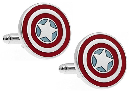 PONTITIES Captain America Shield Cufflinks + Presentation Gift Box by PONTITIES