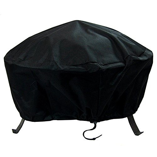Sunnydaze Round Outdoor Fire Pit Cover - Waterproof and Weather Resistant Black Heavy Duty Vinyl PVC with Drawstring Closure - 30 Inch (Washington State Covers Patio)